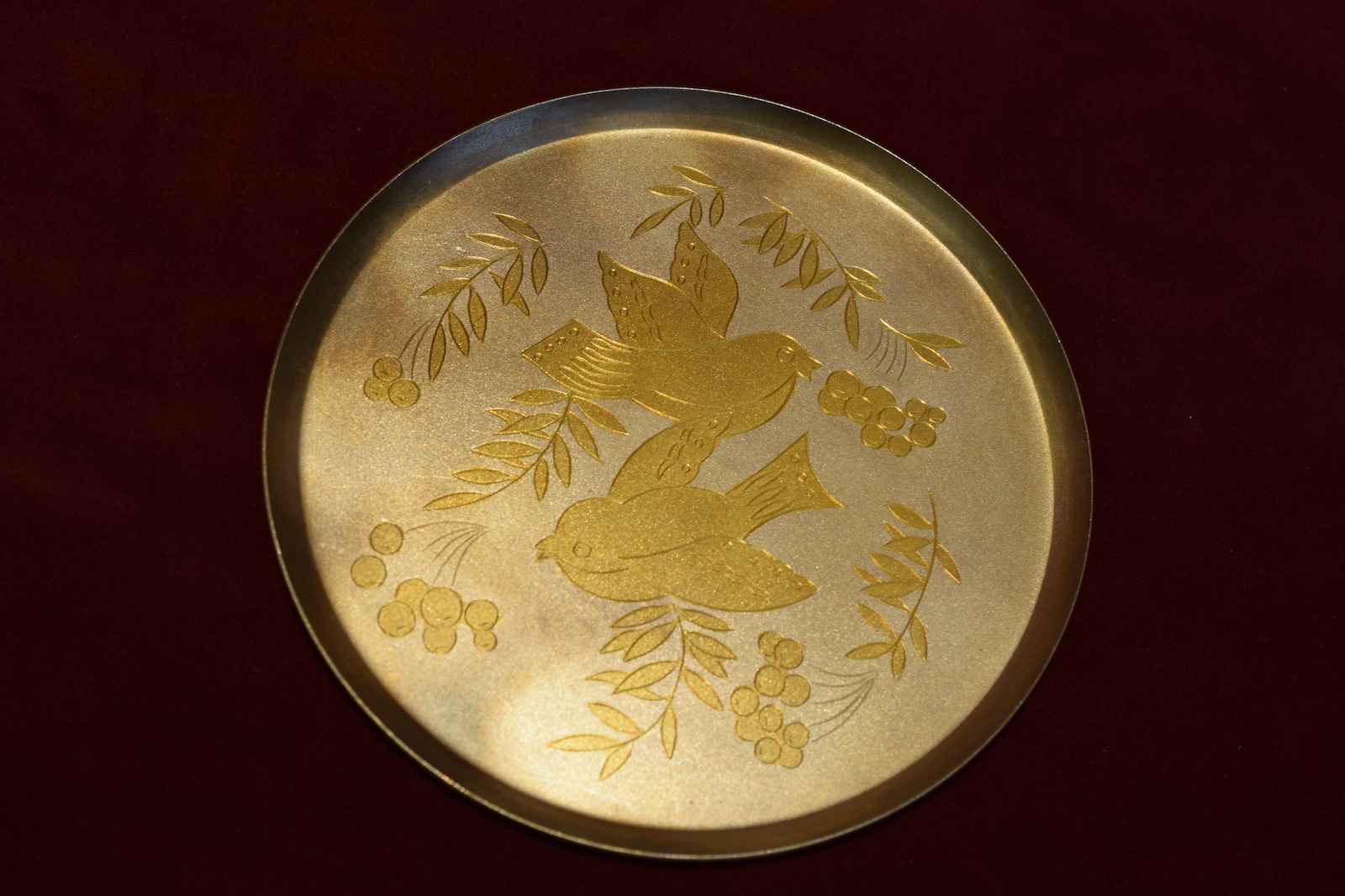 Soviet Etched Tray With Birds, silver c. 1930s