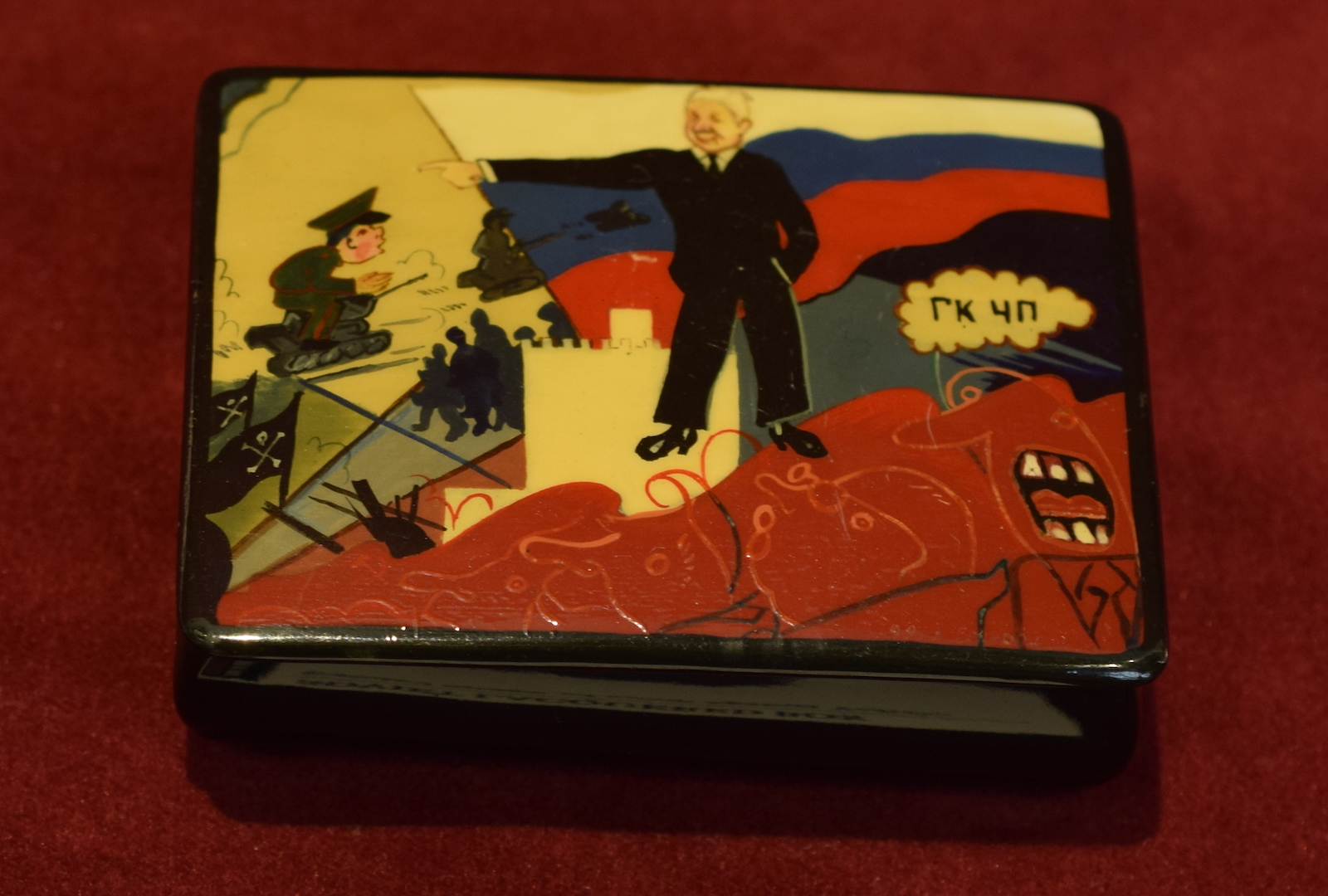 Soviet Lacquered Box, Painted image of coup against Yeltsin