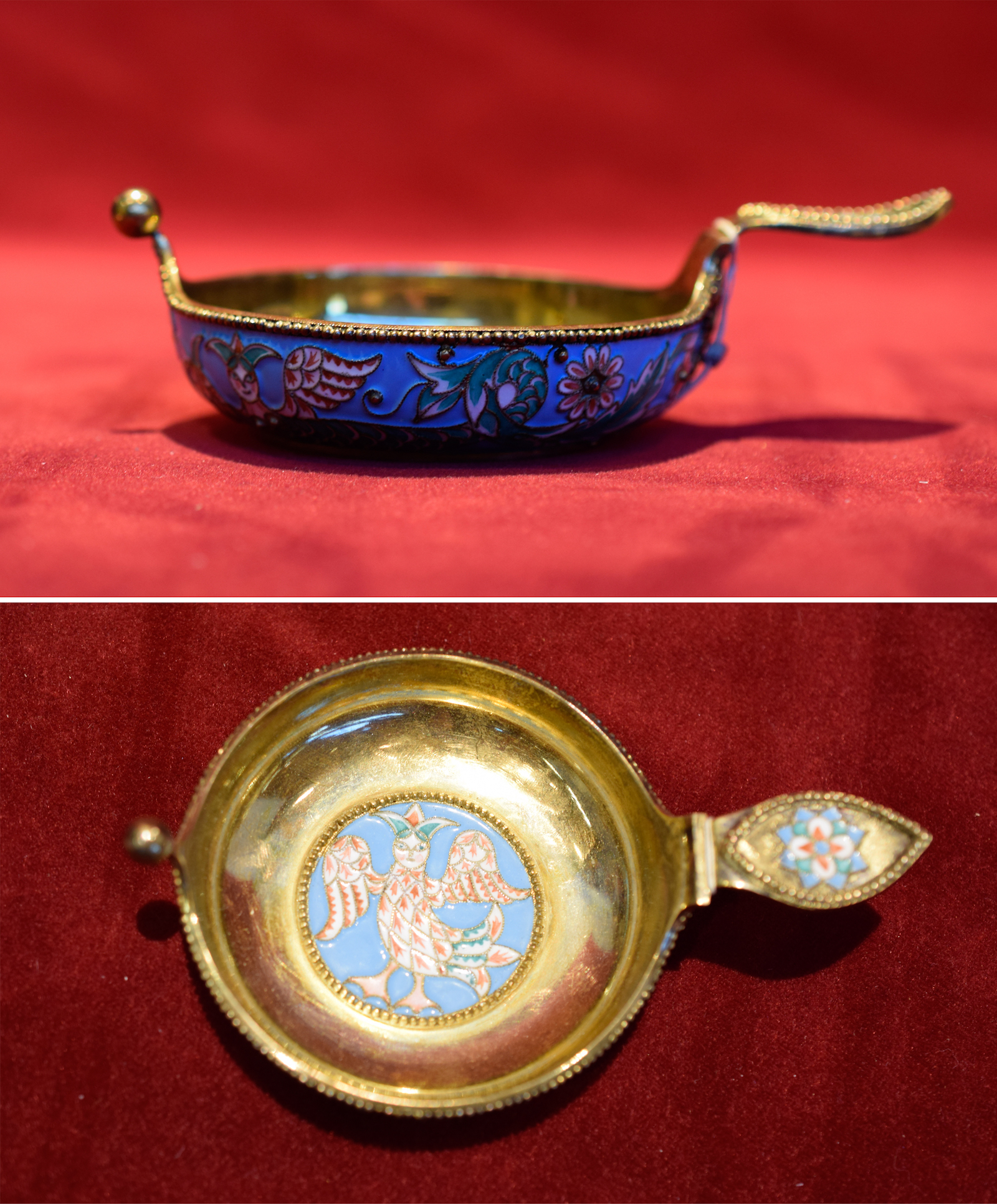 Imperial Shaded Enamel Kovsch with Griffin Pattern