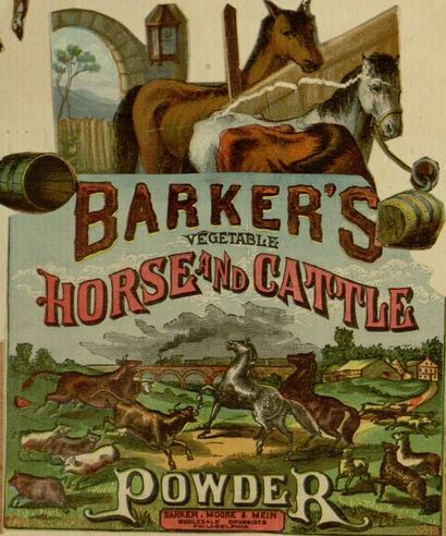 Barker's Vegetable Horse and Cattle Powder TRADE CARD scrap book 1883.JPG
