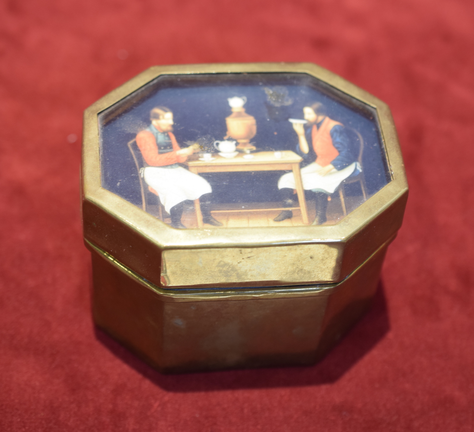 Brass Tea Box with picture of 'Chai E Pitiye'