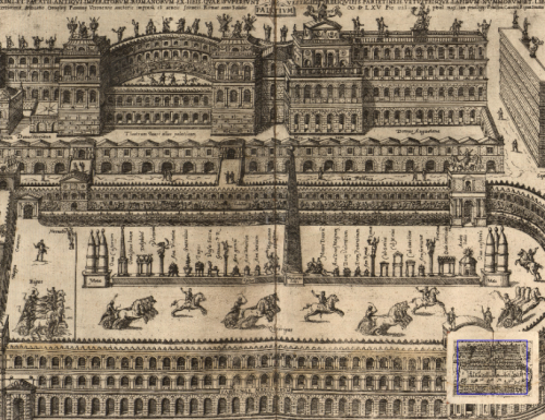 """An illustration from Panvinio's De Ludis Circensibus which shows a chariot race in progress, and the layout of a typical Roman circus.<br><font size=""""-2"""">by Onofrio Panvinio via Villanova Digital Library - http://digital.library.villanova.edu/Item/vudl:75216</font><br><br>"""