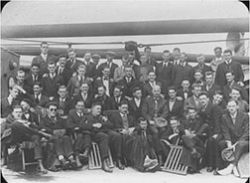 Relief Workers Enroute to Europe<br/>from Haverford, Pennsylvania<br/><small>Quaker Relief in Europe, 1914-1922,<br/>Friends Historical Library of Swarthmore College</small>