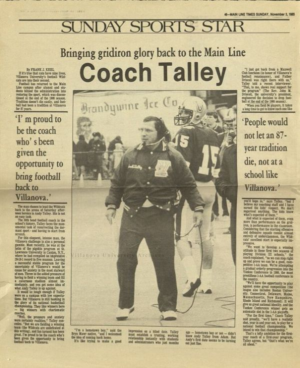 Coach Talley. Main Line Times, 1985. (Courtesy of the University Archives)