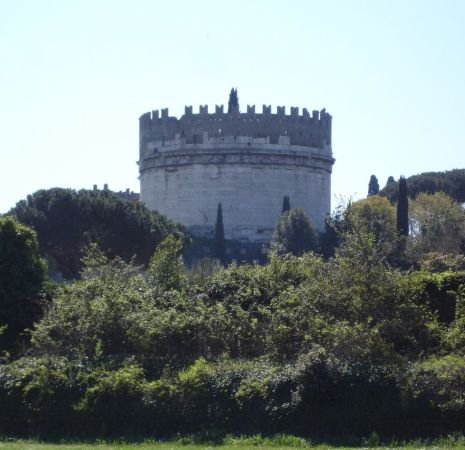 """Mausoleum of Caecilia Metella (late republican tomb), as seen from the Circus of Maxentius.<br><font size=""""-2"""">Photo by page author (April 2006).</font><br><br>"""