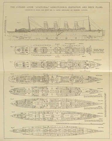 Lusitania Elevation and Deck Plans