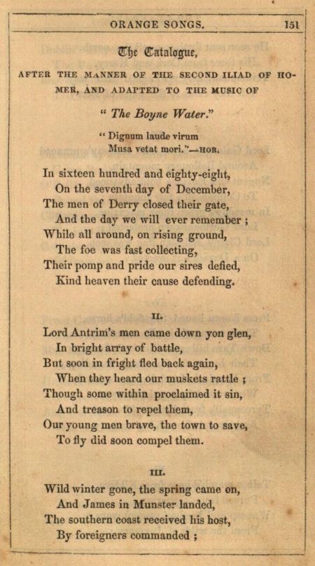 """The Boyne Water"" in Standard Orange Song Book a Collection of Loyal & Constitutional Songs, 1848, page 151."