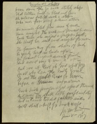 Holograph poem England's Ships by Joseph McGarrity