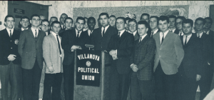 """Villanova Political Union. The Union was divided into three parties: Conservative, Moderate, and Liberal. The motto: """"Tribuni e Discipulis."""" (Belle Air Yearbook, 1962)"""