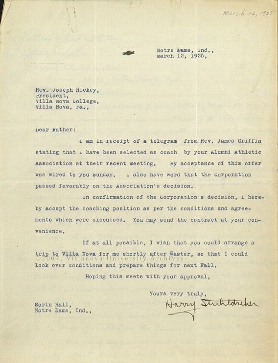 Letter from Harry Stuhldreher to Rev. Joseph Hickey, 1925. (Courtesy of the University Archives)