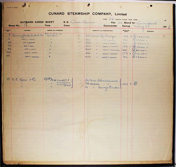 Page of the cargo manifest listing ammunition aboard the Lusitania