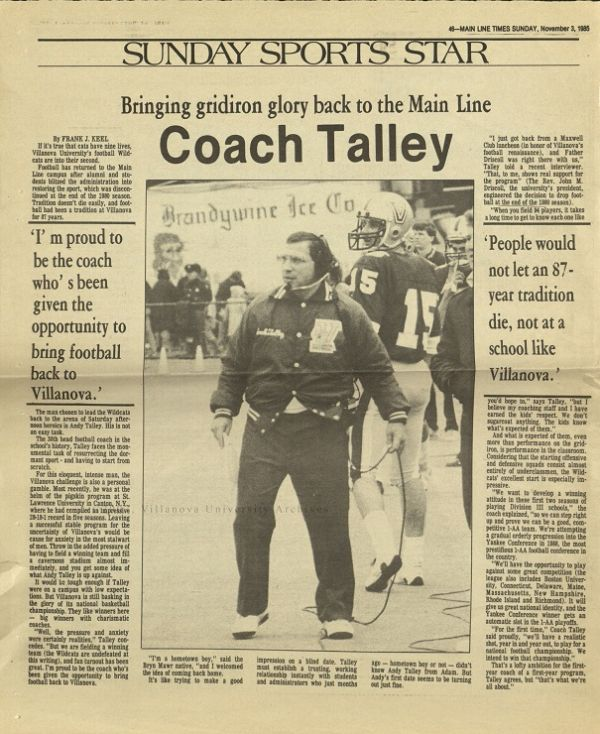 Bringing Gridiron Glory Back to the Main Line, Coach Talley. Main Line Times, Sunday, November 3, 1985.
