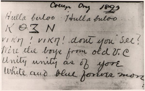 College Cry, 1893. (Courtesy of the University Archives)