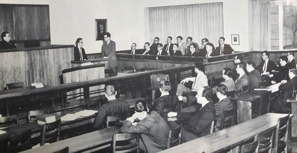 Law School, 1962. Villanova Law School obtained prominence as the first Catholic Law School to be awarded membership into the Order of the Coif (Belle Air Yearbook, 1962)