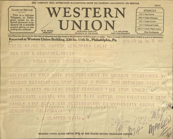 "Western Union Telegram, 1936. To Rev. Edward Stanford from Maurice J. Clipper"" Smith. (Courtesy of the University Archives)"