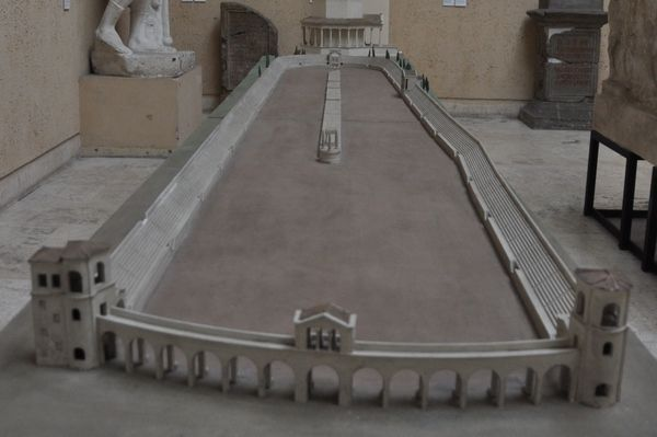 """Model of the Circus of Maxentius in the Museo della Civiltà Romana. The slight """"kink"""" in the barrier wall is noticeable.<br><font size=""""-2"""">Photo used with permission of Livius.Org (www.livius.org).</font><br><br>"""