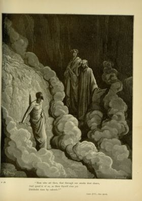 Gustave Doré. Marco Lombardo: Terrace of the Wrathful. 'Now who art thou, that through our smoke dost cleave,/ And speakest of us, as thou thyself e'en yet/ Dividedst time by calends?' Purg. XVI. 23-25.{'<br/>'}Source: Dante Alighieri, Henry Francis Cary, and Gustave Doré. Purgatory and Paradise. new ed. New York [etc.]: Cassell & company, limited, 1883.