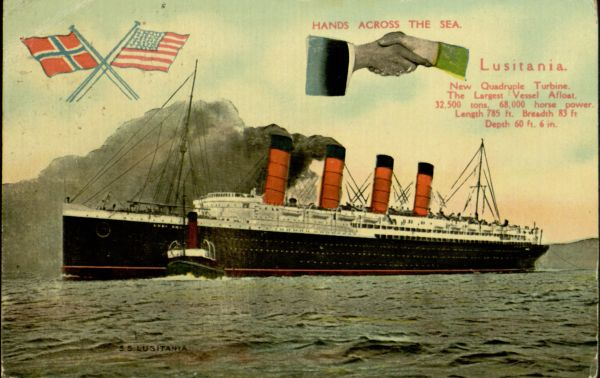 1909 Postcard sent from aboard the Lusitania