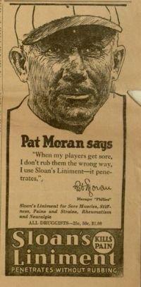 Pat Moran, Manager of the Phillies, endorsed Sloan's Liniment