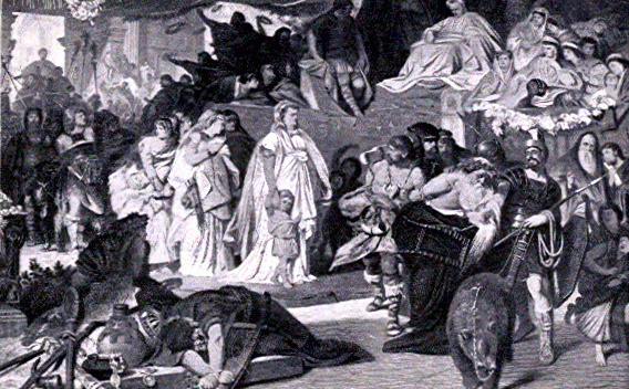 """Triumph of Germanicus<br><font size=""""-2"""">Guerber, Helene. Triumph of Germanicus. 1896. Public domain via Wikimedia Commons. http://commons.wikimedia.org/wiki/File:Triumph_of_Germanicus.gif</font><br><br>"""