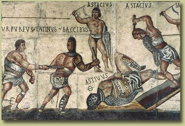 """The Gladiator Mosaic, on display at the Galleria Borghese, is one of the earliest known examples of contemporary art with gladiators as subjects.<br><font size=""""-2"""">(2006) Public domain, Wikimedia Commons. http://commons.wikimedia.org/wiki/File:Borghese_gladiator_1_mosaic_dn_r2_c2.jpg</font><br><br>"""