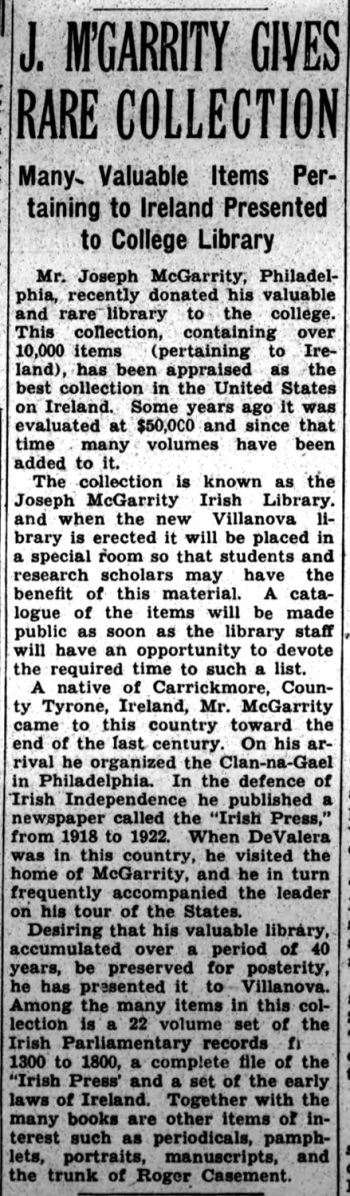 "McGarrity library article from The Villanovan May 6 1940.{'<br/>'}Article from: The Villanovan, vol. 12, no. 23 (May 6, 1940).  <br/><a href=""http://digital.library.villanova.edu/Villanova%20Digital%20Collection/Magazines%2C%20Newsletters%2C%20and%20Journals/The%20Villanovan/1940/1940-86c539b4-8a15-489c-a02c-efe7c63c34be.xml"">[Digital Library]</a><br/><br/>"