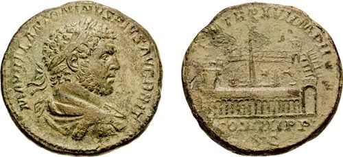 """Sestertius of Caracalla, showing a circus<br><font size=""""-2"""">Image used with permission of CNG Coins. (http://www.cngcoins.com/) Accessed on Wikimedia Commons.</font><br><br>"""