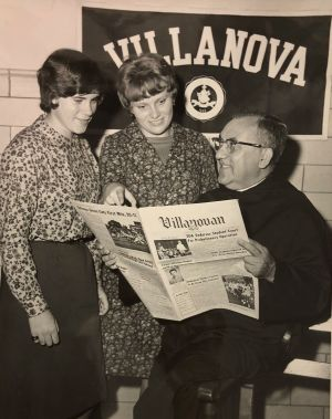 Rev. Louis Rongione, OSA and two students at the Scholar Publication Conference, 1966. (VUA 35/30 Villanova Photograph collection)