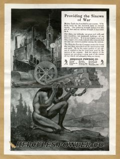 """""""At the Nation's Service.""""<br/><small>Hercules Powder Company<br/>Advertisement, 1918.<br/>Chemical Heritage Foundation Collections.</small>"""