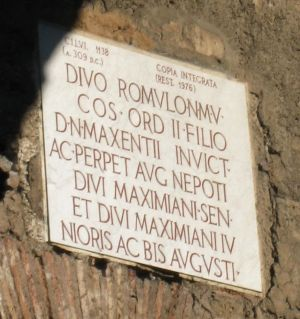 """One of the inscriptions found in the Circus of Maxentius, declaring the dedication to the deified Romulus.<br><font size=""""-2"""">Reconstruction. Image used with permission (http://www.romeartlover.it/).</font><br><br>"""