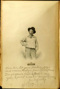 "Woodcut plate of young Walt <br/>Whitman with signed holograph<br/> inscription of poem by Joseph<br/> McGarrity from McGarrity's copy of: <br/>Walt Whitman, Leaves of Grass <br/>(Philadelphia: David McKay, 1892). <br/><a href=""https://library.villanova.edu/Find/Record/408894/Holdings#tabnav"">[Special Collections]</a>"