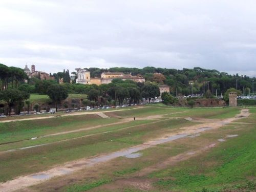 """The remains of the Circus Maximus in Rome. Notice the raised middle section where the spina was.<br><font size=""""-2"""">Photo: MarkusMark, Wikimedia Commons, image in the public domain</font><br><br>"""