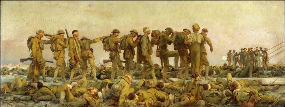 John Singer Sargent,<br/>Gassed: The Dressing Station at Le Bac-du-Sud, on the Doullens-Arras Road, August 1918, 1919, oil on canvas,<br/><small>Imperial War Museum, London</small>