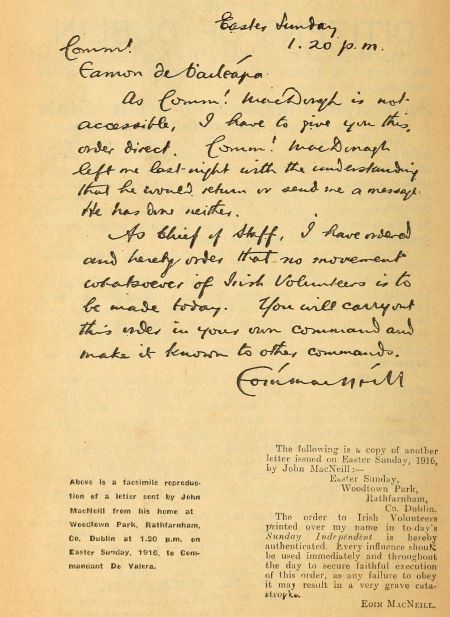 Facsimile of letter from Eoin MacNeill, to Eamon De Valera, in Sinn Fein Rebellion Handbook, Easter, 1916, 1917, page 4b.