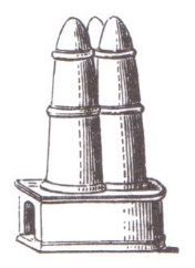 """An illustration of a meta, the sturdy turning posts what would have been on both ends of the spina.<br><font size=""""-2"""">Illustration: Krank-Hover, Wikimedia Commons, CC BY SA</font><br><br>"""