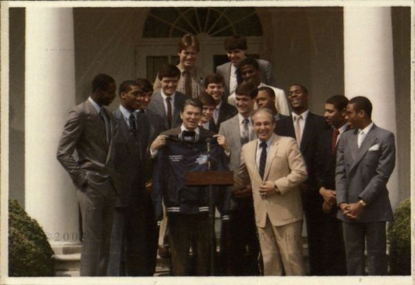 Basketball Team, Coach Roland V. Massimino and President Ronald Reagan at White House, 1985.