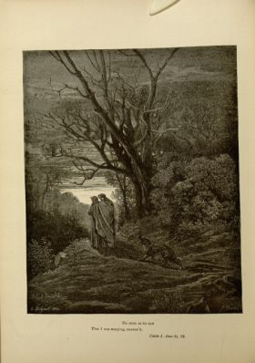 Gustave Doré. Virgil and Dante in the Dark Wood of Sin. 'He soon as he saw/ that I was weeping, answered.' Inf. I 87-88. Source: Dante Alighieri, Henry Francis Cary, and Gustave Doré. Inferno. New Edition. New York. P.F. Collier, limited, 1883. Falvey Mem