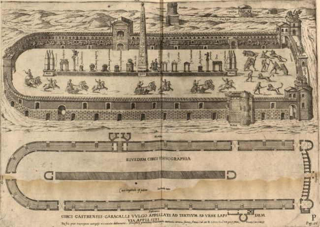 """Reconstruction and plan of Circus of Maxentius<br><font size=""""-2"""">by Onofrio Panvinio via Villanova Digital Library - http://digital.library.villanova.edu/Item/vudl:75216</font><br><br>"""