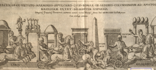 """The above illustration by Panvinio shows the chaos that can occur during a race. The four horse quadriga races (depicted) were especially prone to violent collisions because of their high speed and the large number of horses on the track. Also note the do<br><font size=""""-2"""">by Onofrio Panvinio via Villanova Digital Library - http://digital.library.villanova.edu/Item/vudl:75216</font><br><br>"""