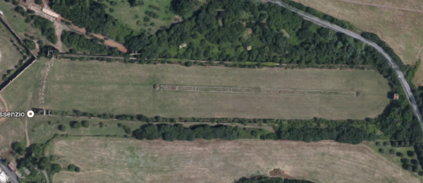 """Aerial photo of Circus of Maxentius. The slight """"kink"""" in the outline is noticeable.<br><font size=""""-2"""">Image from Google Maps.</font><br><br>"""