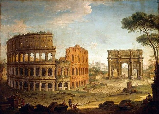 """Rome: View of the Colosseum and The Arch of Constantine<br><font size=""""-2"""">by Antonio Joli, oil on canvas, painted 1744-1748 CE, image in the public domain via Wikimedia Commons</font><br>"""