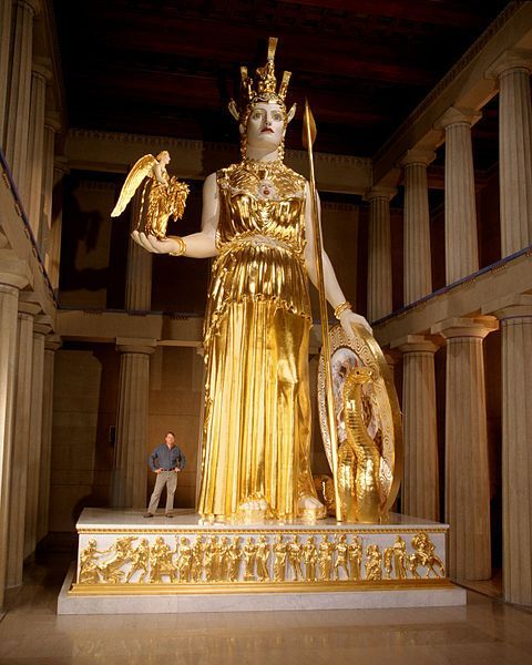 "<font size=""-2"">Figure 9: Reconstruction of the Athena Parthenos Statue, Nashville. Image by Dean Dixon and available under a Copyleft Free Art License, Wikimedia Commons. http://commons.wikimedia.org/wiki/File:Athena_Parthenos_LeQuire.jpg</font><br><br>"