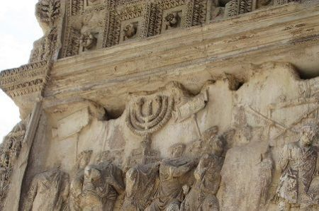 """Arch of Titus, South Interior Frieze. The triumphal procession with the treasures taken from the Temple in Jerusalam<br><font size=""""-2"""">Photo Credit: Daniel Bluth (2013)</font><br>"""