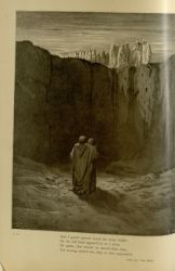 "Dor_the_wall_of_rock_mt_purgatory.jpg<br/><span style=""font-size: 70%;"">Gustave Doré. Wall of Rock. 'And I gazed upward round the stony height;/ On the left hand appear'd to us a troop/ of spirits, that toward us moved their steps; / Yet moving semm'd not, they so slow approach.' Purg. III. 56-59. Source: Dante Alighieri, Henry Francis Cary, and Gustave Doré. Purgatory and Paradise. new ed. New York: Cassell & company, limited, 1883.</span>"
