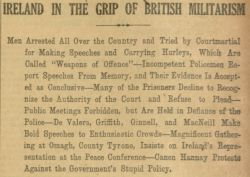 """Ireland in the Grip of British Militarism,"" The Gaelic American - Vol. XIV, No. 39, September 29, 1917, Whole Number 733, page 1."