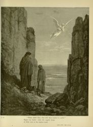 "Dor_Angel_in_Purgatorio.jpg<br/><span style=""font-size: 70%;"">Gustave Doré. Angel in the Purgatorio. 'What aileth thee, that still thou look'st to earth?/ Began my leader; while the angelic shape/ A little over as his station took.' Purg. XIX. 51-53. Source: Dante Alighieri, Henry Francis Cary, and Gustave Doré. Purgatory and Paradise. new ed. New York: Cassell & company, limited, 1883.</span>"