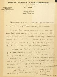Letter, To: [Philadelphia], From: Eamon De Valera, March 9, 1920.