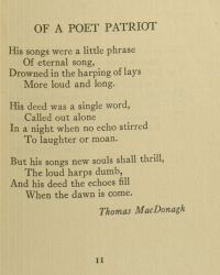 """Of A Poet Patriot"" by Thomas MacDonagh (page 11) in Poems of the Irish Revolutionary Brotherhood, 1916, page 11."