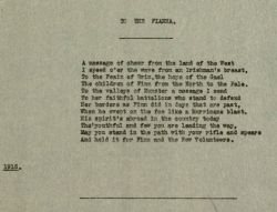 "Typescript, Poem: ""To the Fianna,"" by Joseph McGarrity, 1915."