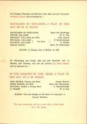 Inside page, Abbey Theatre Program, December 1904